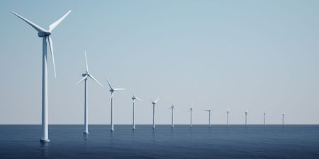 3d rendering of windturbines on the ocean Stock Photo - 4894729