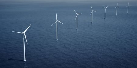 3d rendering of windturbines on the ocean Stock Photo - 4894715
