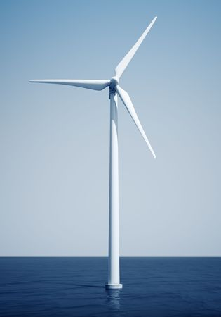 windturbine: 3d rendering of a windturbine on the ocean Stock Photo