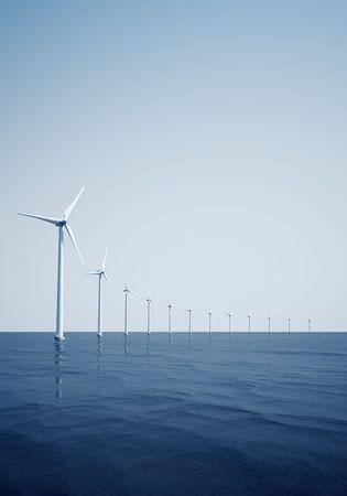 3d rendering of windturbines on the ocean Stock Photo - 4894708