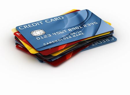 debit card: 3d rendering of a credit cards