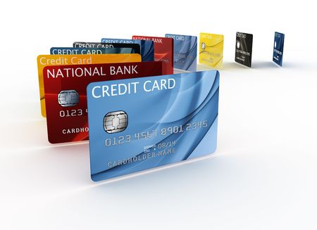 debit: 3d rendering of a credit cards