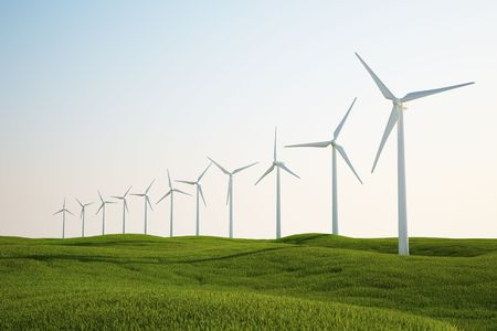 3d rendering of wind turbines on a green grass field