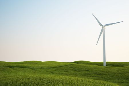3d rendering of a wind turbine on a green grass field Stock Photo - 4988600