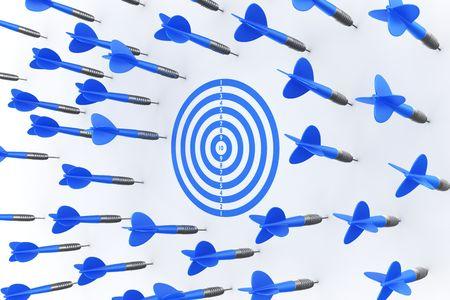 3d rendering of dart arrows missing the target