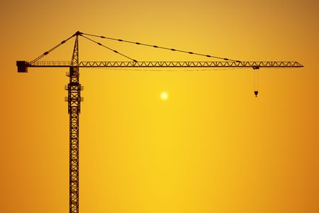 3d rendering of a crane against a yellow sky photo