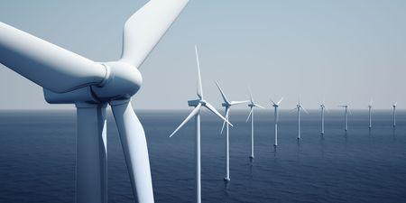 turbina: 3d prestaci�n de windturbines en el oc�ano Foto de archivo