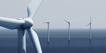 3d rendering of windturbines on the ocean Stock Photo - 4988586