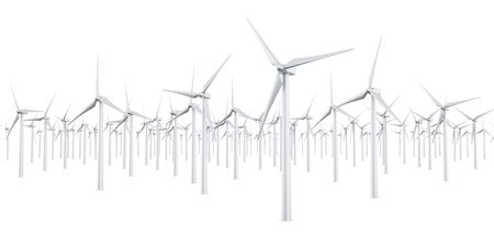 3d rendering of multiple wind turbines in a wite studio setup Stock Photo - 4988594