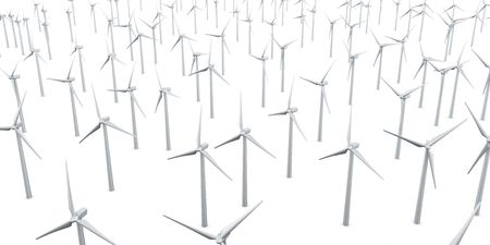 3d rendering of multiple wind turbines in a wite studio setup Stock Photo - 4988583