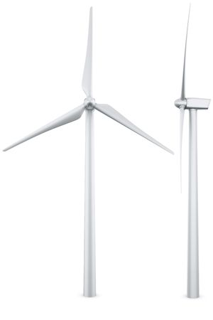 wind mill: 3d rendering of a single wind turbine in a wite studio setup