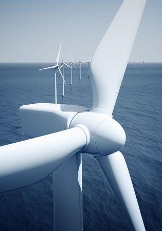 windmills: 3d prestaci�n de windturbines en el oc�ano Foto de archivo