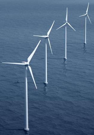 3d rendering of windturbines on the ocean Stock Photo - 4988582