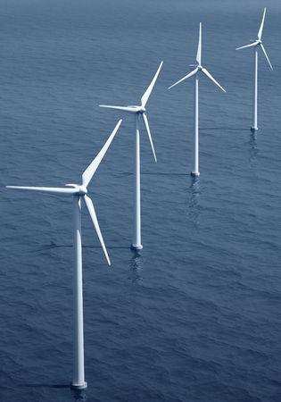 3d rendering of windturbines on the ocean Stock Photo - 4988582