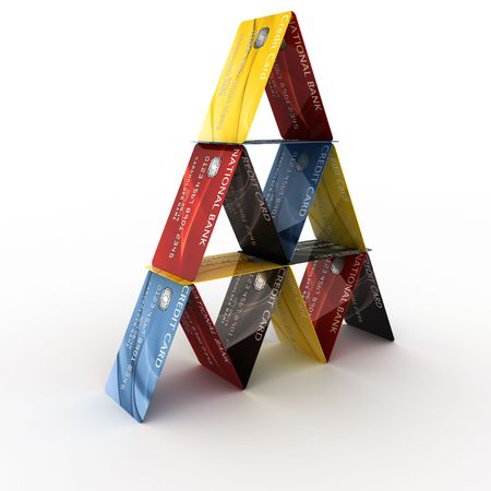 arranged: 3d rendering of credit cards arranged in a pyramid
