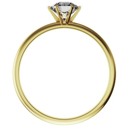 engagement rings: 3d rendering of a gold diamond ring Stock Photo