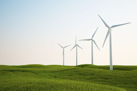 3d rendering of wind turbines on a green grass field Stock Photo - 5061119