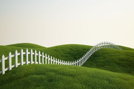 white picket fence: 3d rendering of a grass field with a white picket fence Stock Photo