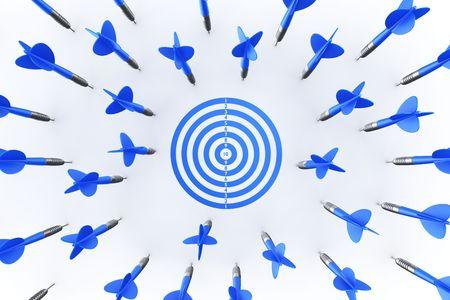 bullseye: 3d rendering of dart arrows missing the target