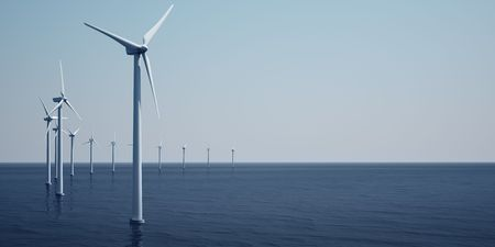 3d rendering of windturbines on the ocean Stock Photo - 5061114