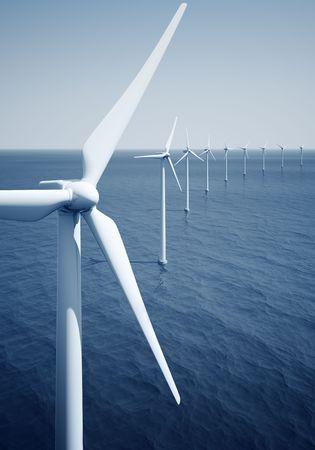 3d rendering of windturbines on the ocean photo