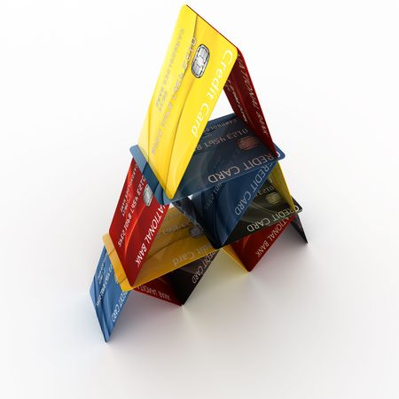 3d rendering of credit cards arranged in a pyramid Stock Photo - 5061122