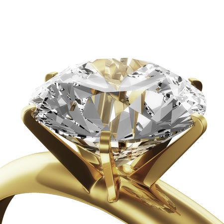 3d rendering of a gold diamond ring Stock Photo - 5257191