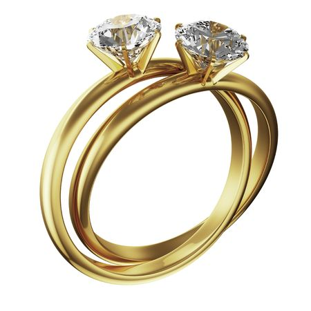 intertwined: 3d rendering of two gold diamond rings intertwined