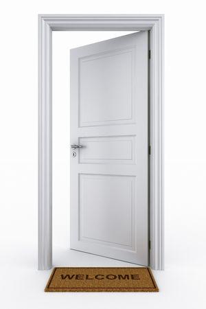3D rendering di una porta aperta con il benvenuto mat Archivio Fotografico