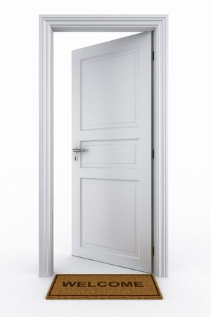 3d rendering of an open door with welcome mat Фото со стока