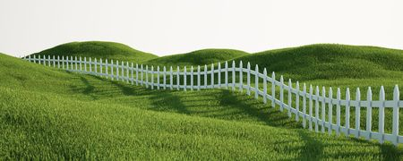 pasture fence: 3d rendering of a grass field with a white picket fence Stock Photo
