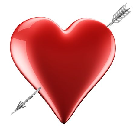 3D rendering of a heart with arrow Stock Photo - 5257031