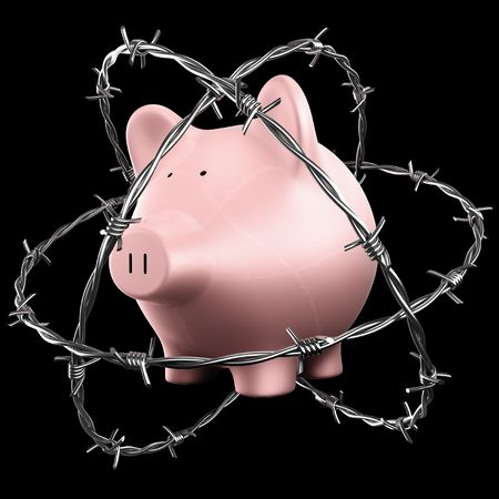 3d rendering of a piggybank wrapped in barbed wire photo