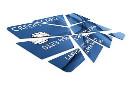 3d rendering of a credit card cut into pieces photo