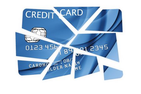 3d rendering of a credit card cut into pieces Stock Photo - 5257234