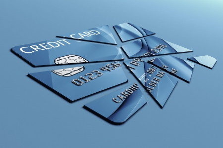 dismantled: 3d rendering of a credit card cut into pieces