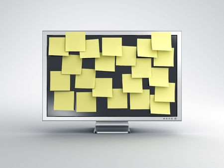 computer message: 3d rendering of a computer monitor with postit notes on it.
