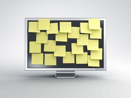3D-rendering van een computer monitor met postit merkt op.