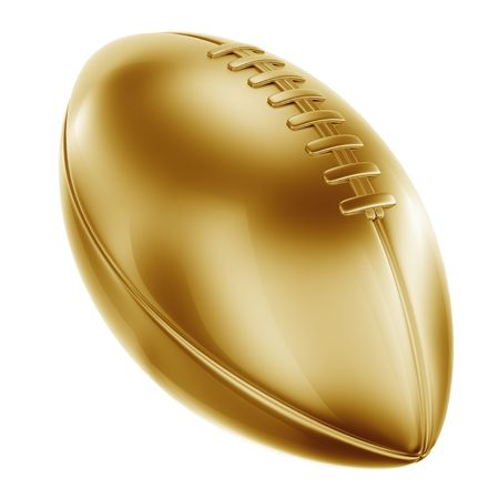 football trophy: 3d rendering of an american football in gold