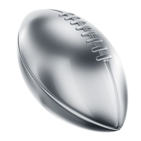 football trophy: 3d rendering of an american football in silver