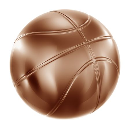 3d rendering of a basketball in bronze photo