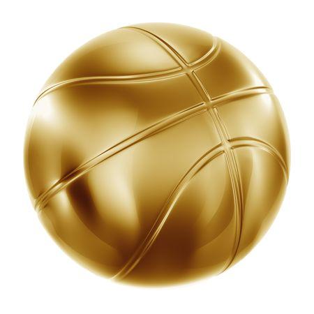 Rendu 3D d'un basket-ball en or