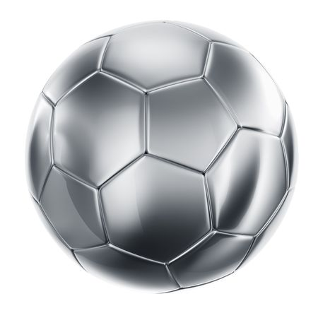 3d rendering of a soccerball in silver photo