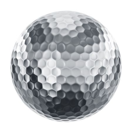 3d rendering of a golfball in silver photo