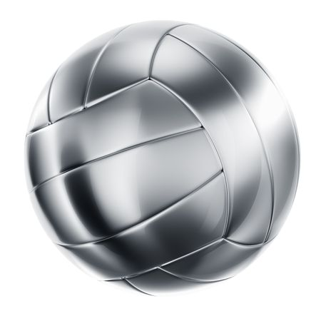 metal ball: 3d rendering of a volleyball in silver