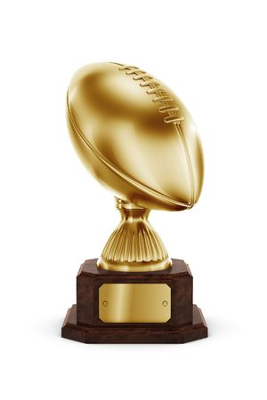 football trophy: 3d rendering of an american football trophy in gold
