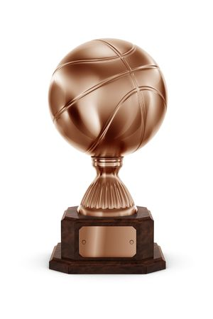 3d rendering of a basketball trophy in bronze photo
