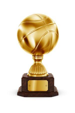 panier basketball: Rendu 3D d'un troph�e en or de basket-ball Banque d'images