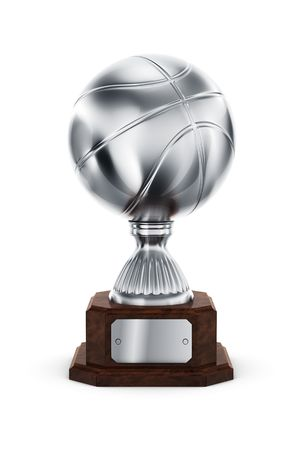 3d rendering of a basketball trophy in silver photo
