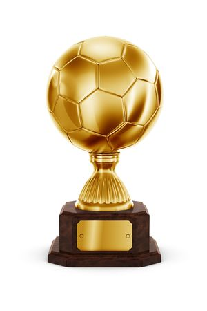 football trophy: 3d rendering of a football trophy in gold Stock Photo